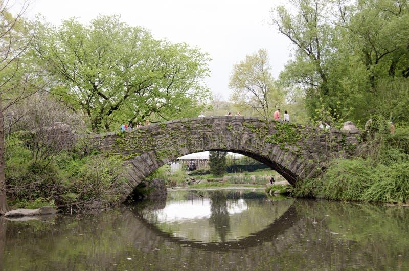 漫步在Gapstow桥梁的人们在中央公园 免版税库存图片