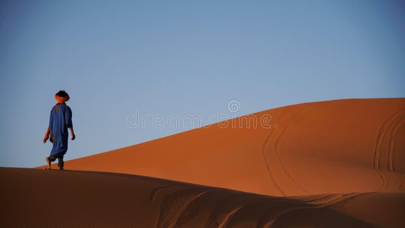 漫步通过撒哈拉大沙漠 库存图片