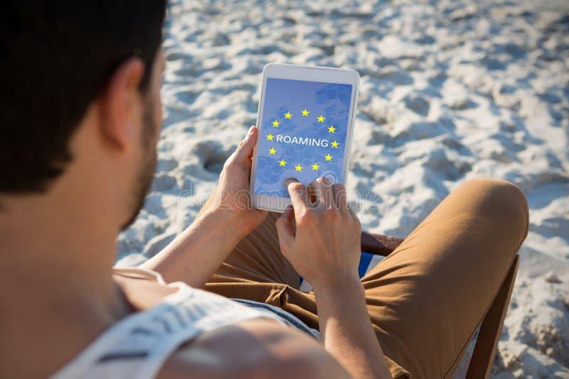 漫游的文本的综合图象在欧盟旗子的 免版税图库摄影