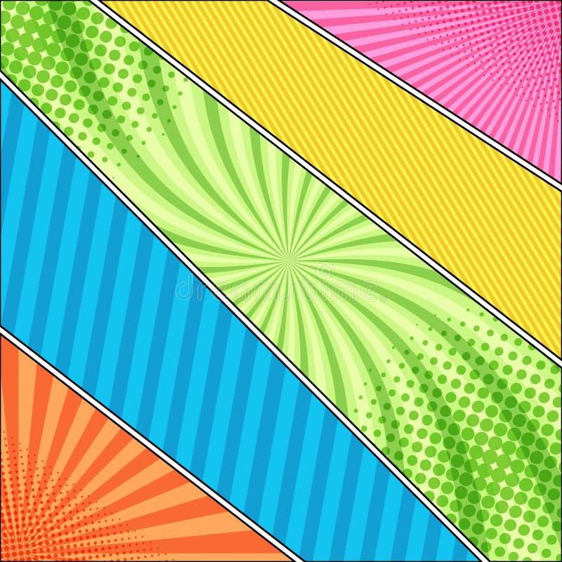 漫画书五颜六色的模板 库存例证