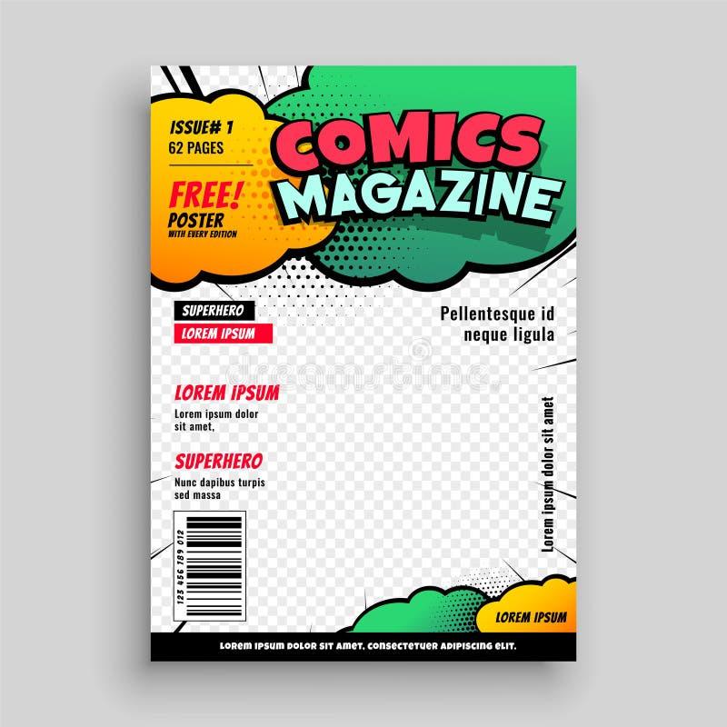 漫画书封页模板设计 库存例证
