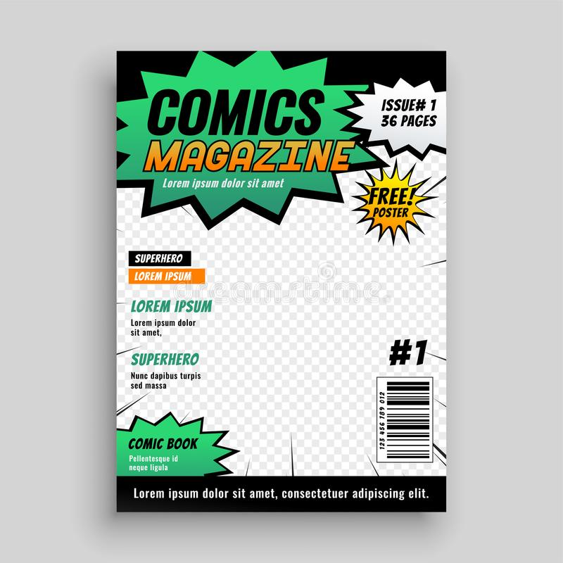 漫画书盖子布局设计  库存例证