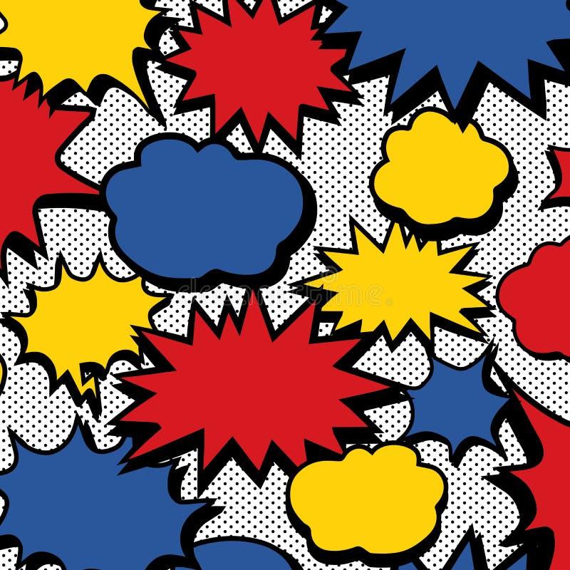 漫画书讲话泡影样式和光点图形的手拉的传染媒介例证 抽象墙纸 皇族释放例证