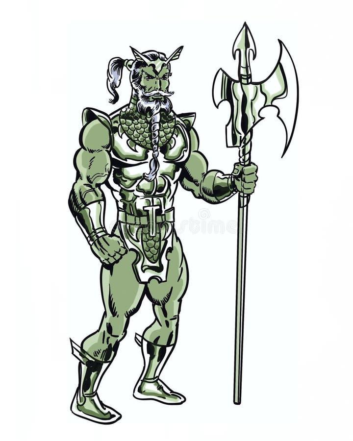 漫画书说明了与三叉戟的原始的鱼国王字符 向量例证