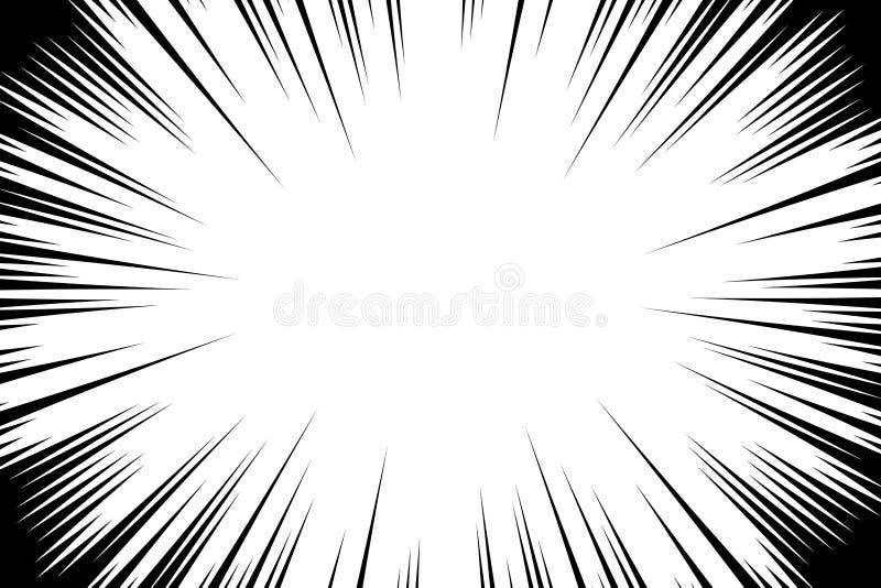 漫画书辐形排行背景 Manga速度框架 爆炸传染媒介例证 星爆炸或太阳光芒抽象背景 皇族释放例证