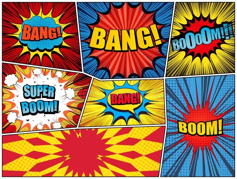 漫画书页爆炸背景 向量例证
