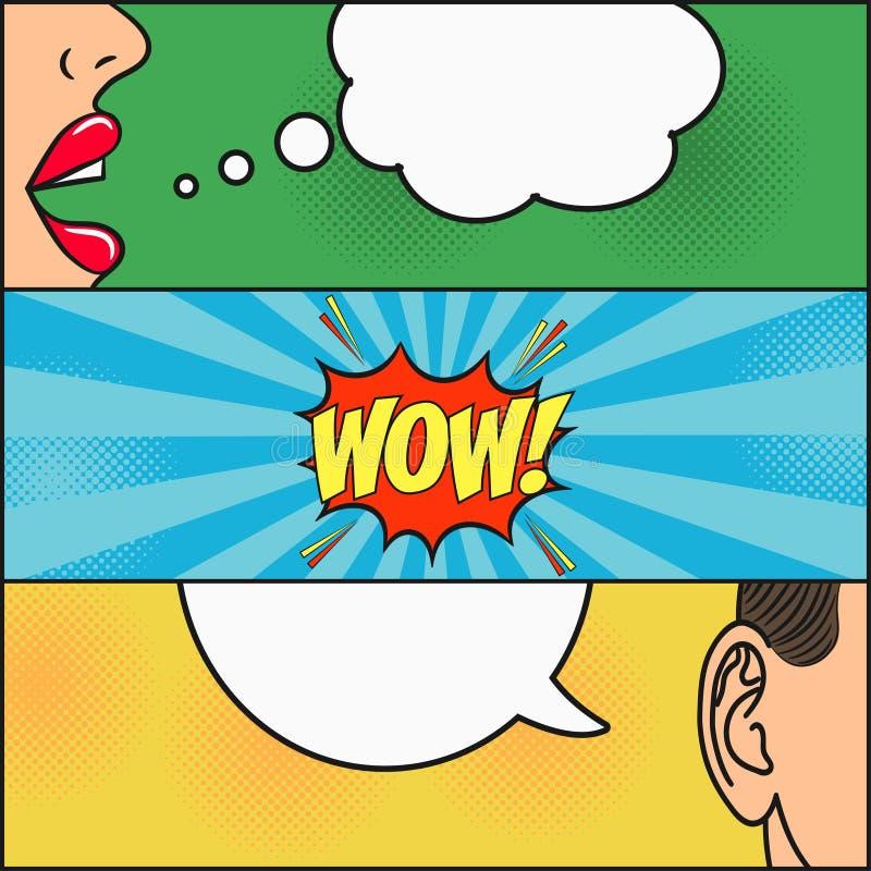 漫画书页设计  有讲话的女孩对话和人起泡激动- WOW 妇女嘴唇和供以人员耳朵 向量 向量例证