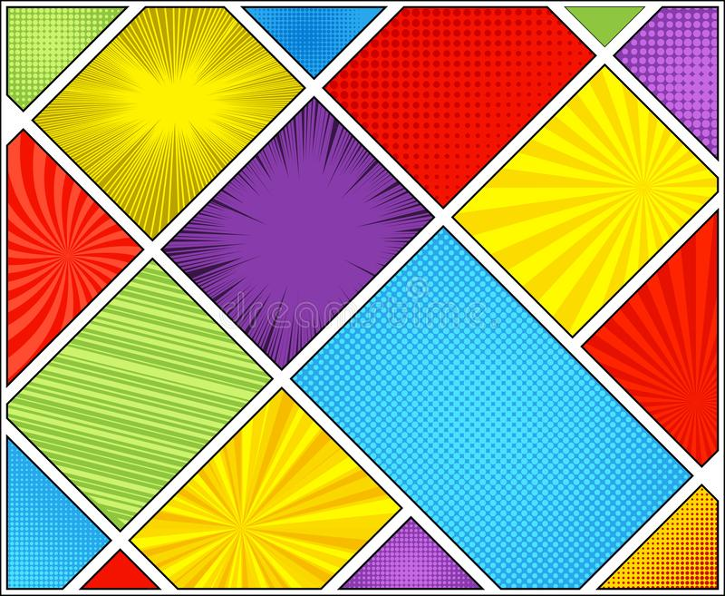 漫画五颜六色的对角概念 库存例证