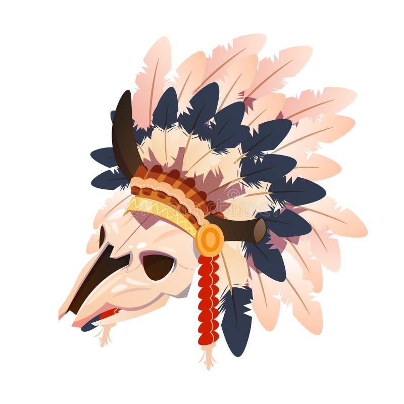 漫画人物有印地安人的水牛头骨用羽毛装饰在白色背景隔绝的头饰 向量例证