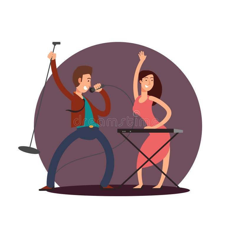 漫画人物男性歌手和女性钢琴演奏家传染媒介设计 向量例证
