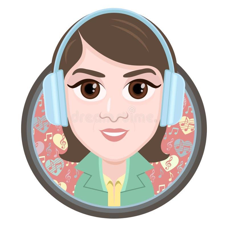 漫画人物,传染媒介图画耳机的画象女孩听到音乐,微笑象,贴纸的 在rou的妇女大棕色眼睛 库存例证