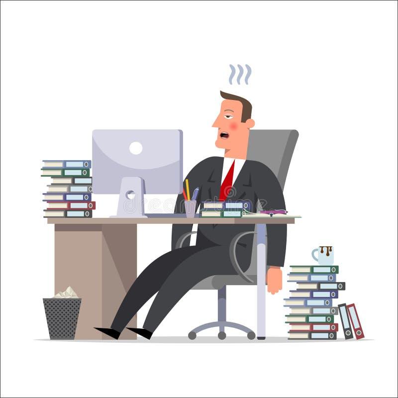漫画人物:一个疲乏的商人或干事,无能为力地le 库存例证