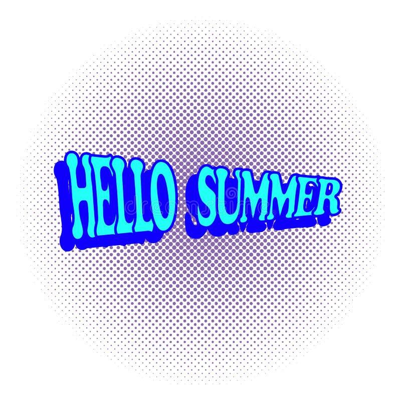 漫画你好在半音背景的夏天文本 流行艺术快乐的乐趣传染媒介例证 皇族释放例证