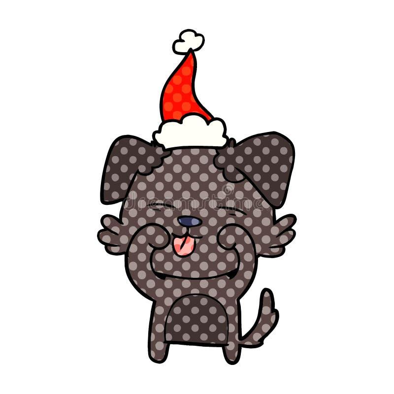 漫画戴圣诞老人帽子的狗摩擦的眼睛的样式例证 向量例证