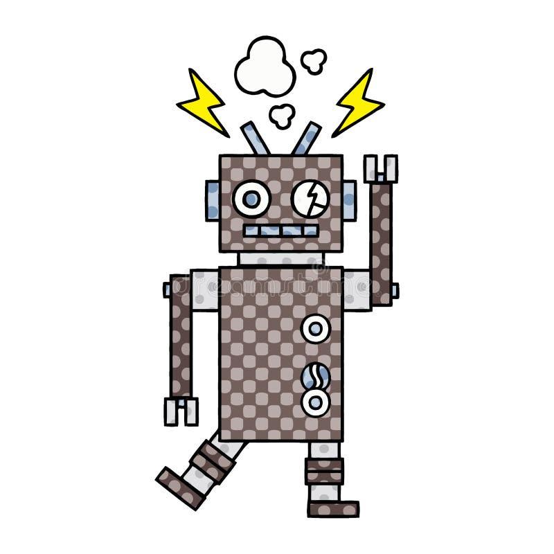 漫画样式动画片发生故障的机器人 皇族释放例证