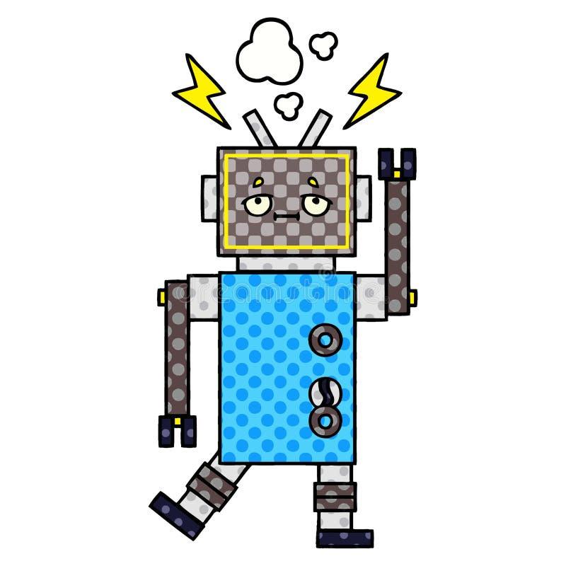 漫画样式动画片发生故障的机器人 向量例证
