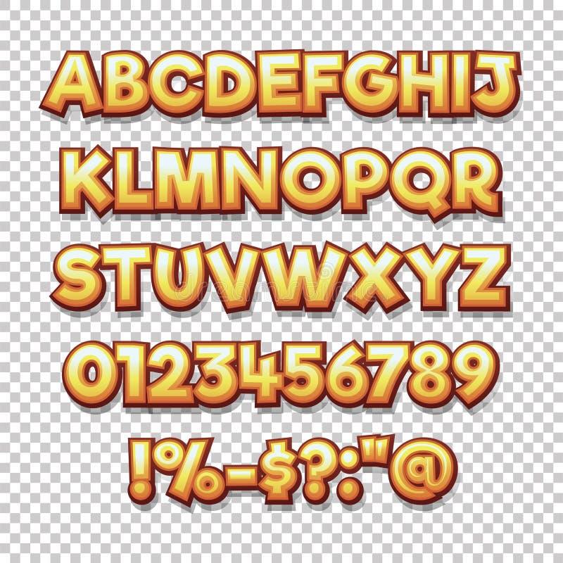 漫画样式字母表汇集集合 库存例证