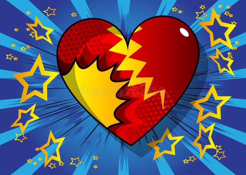 漫画样式心脏,抽象爱标志 库存例证