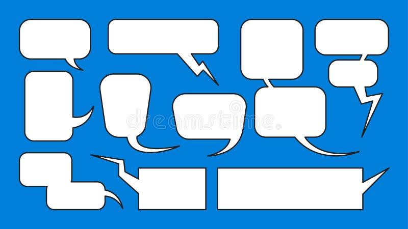 漫画气球对话框架传染媒介汇集集合 向量例证