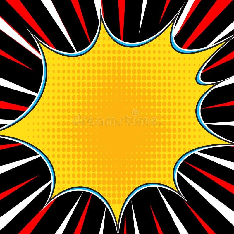 漫画书爆炸超级英雄流行艺术样式辐形排行背景 Manga或芳香树脂速度框架 向量例证