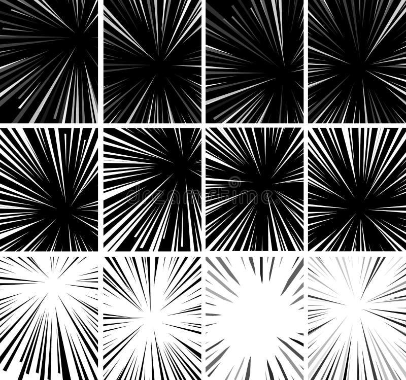 漫画书超级英雄流行艺术样式黑白辐形排行背景 Manga或芳香树脂速度框架 向量例证