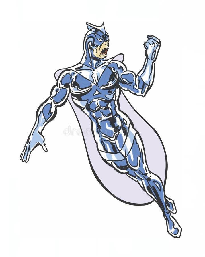 漫画书说明了挥动他的拳头的恼怒的超级英雄 库存例证