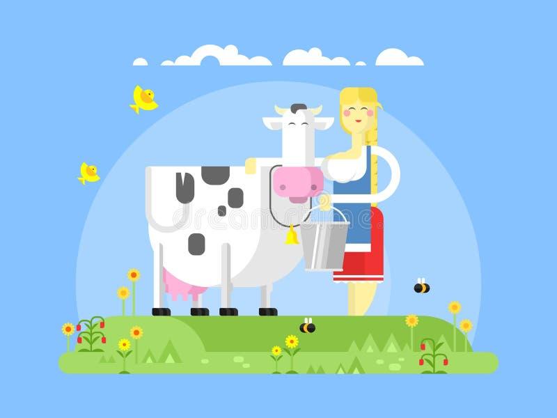 漫画人物母牛和挤奶的妇女 库存例证