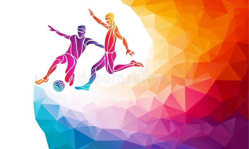 漫画人物球员足球体育运动 足球运动员踢在时髦抽象五颜六色的多角形样式的球与彩虹 向量例证