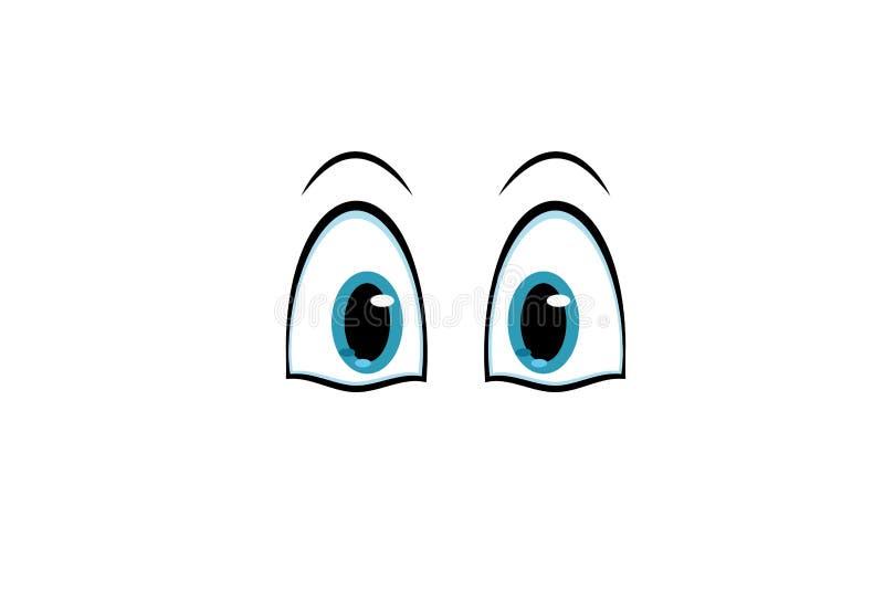 漫画人物的动画片蓝眼睛 库存例证