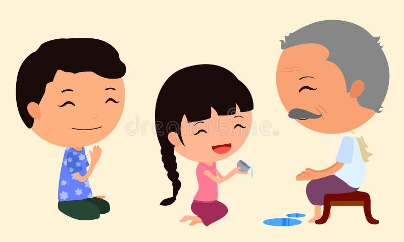 漫画人物Songkran 5 皇族释放例证