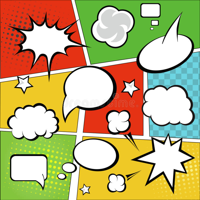 漫画和可笑的讲话泡影在五颜六色 皇族释放例证