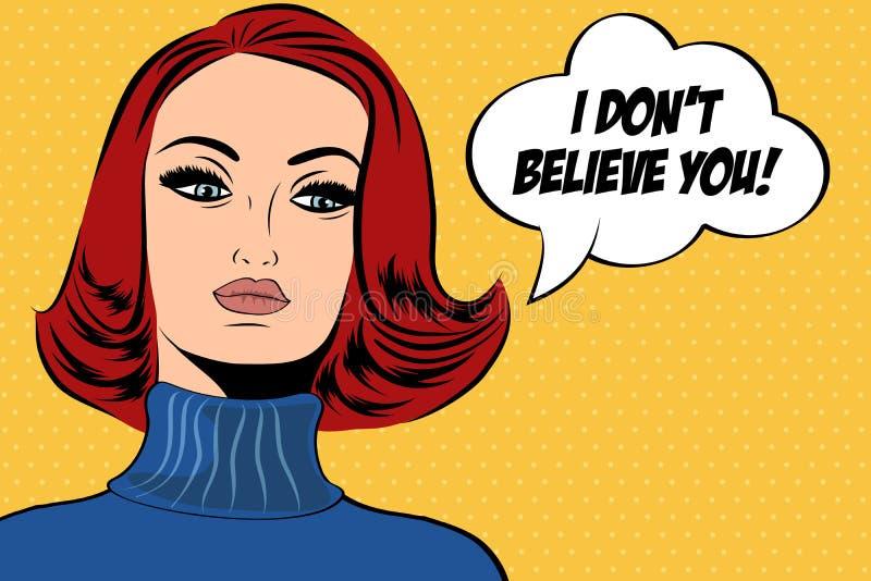 漫画样式的流行艺术逗人喜爱的减速火箭的妇女与消息 库存例证