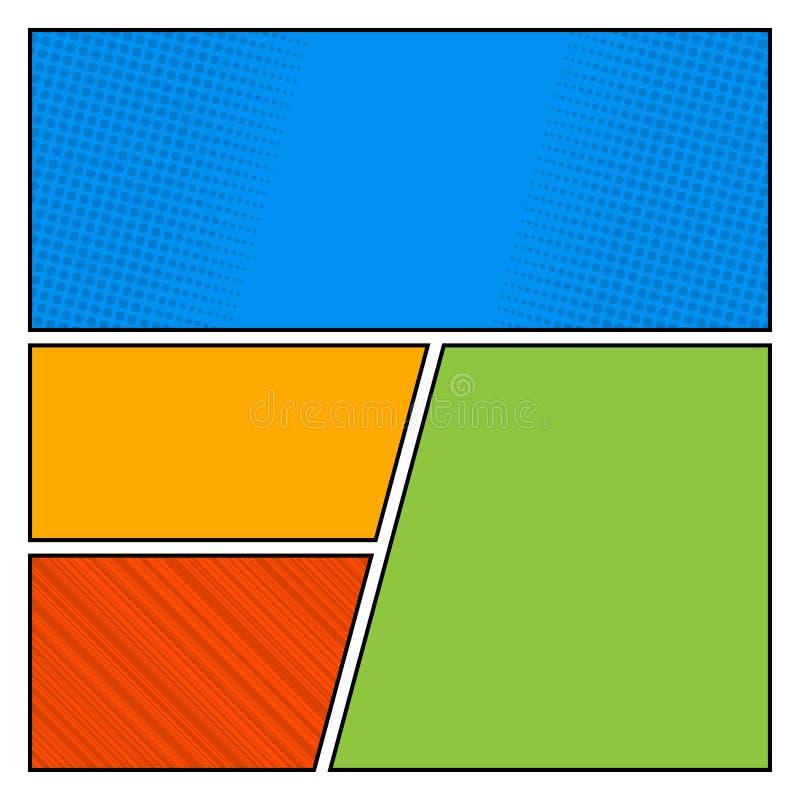漫画流行艺术样式空白与光点图形背景传染媒介的布局模板 向量例证