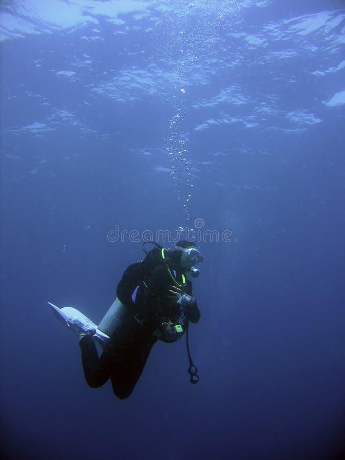 潜水员安全性水肺终止 免版税库存照片