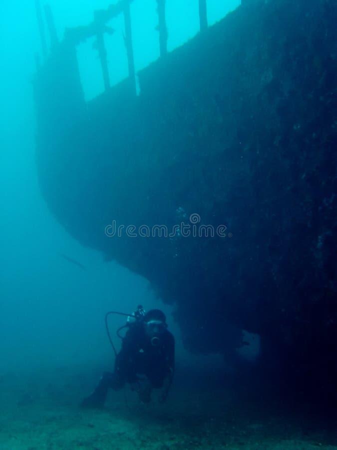 潜水员探险家菲律宾水肺击毁 免版税库存图片