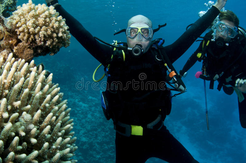 潜水员水肺二 库存图片