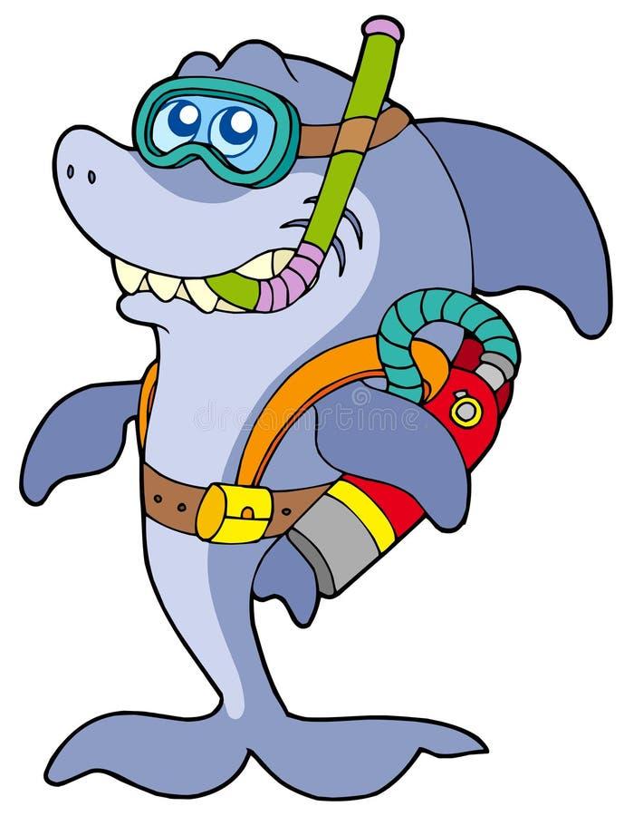 潜水员水肺鲨鱼 皇族释放例证