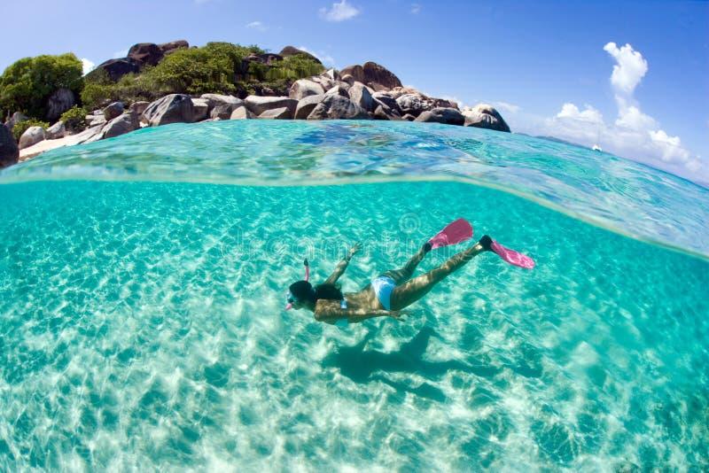 潜水员自由的废气管妇女 免版税库存图片