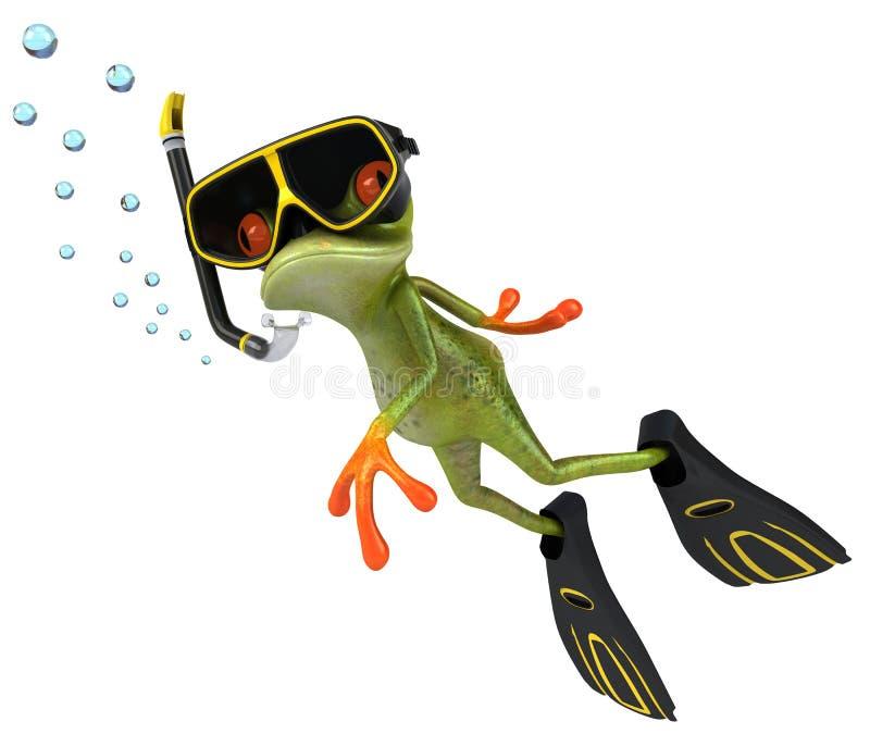 潜水员青蛙水肺 皇族释放例证