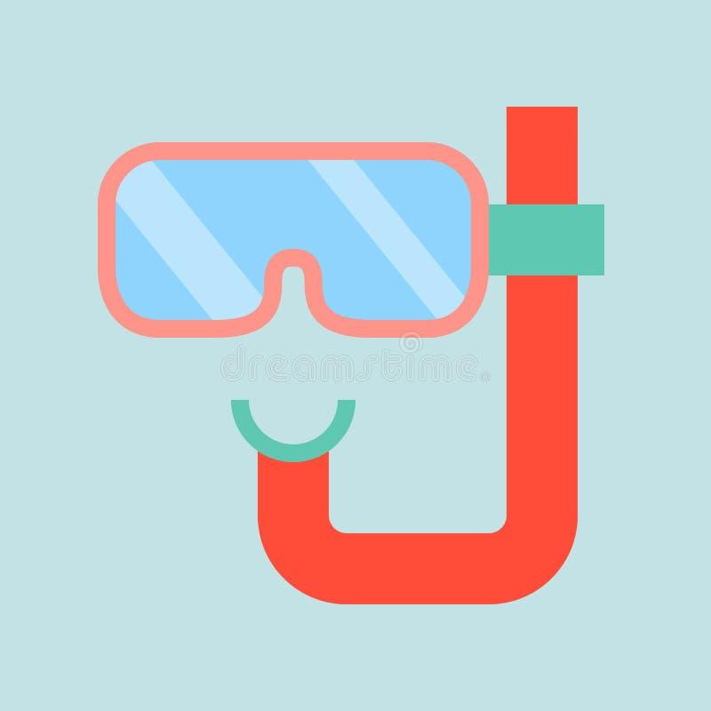 潜水在平的设计,夏天概念的面具象 库存例证