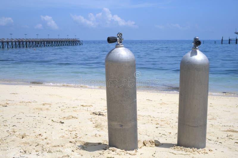 潜水氧气罐 免版税库存图片
