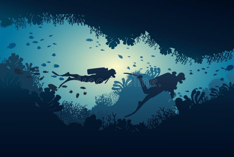 潜水者剪影,珊瑚礁和水下 向量例证