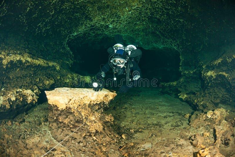 潜水者水下的洞潜水的佛罗里达杰克逊蓝色洞美国 免版税库存图片
