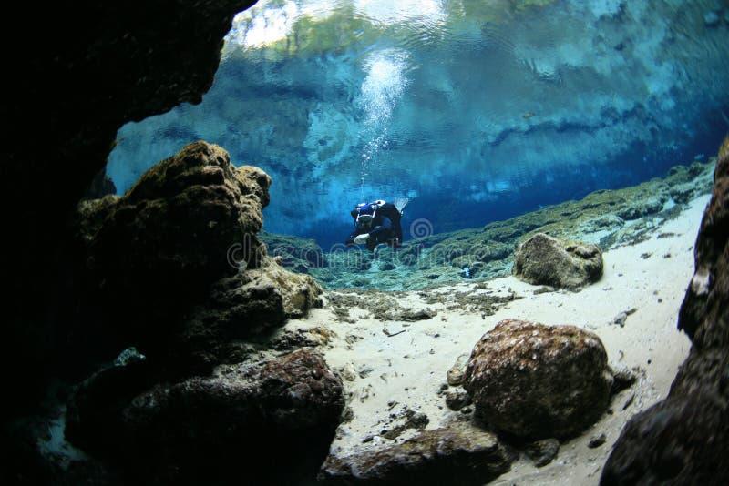 潜水者水下的洞潜水的佛罗里达美国 库存图片