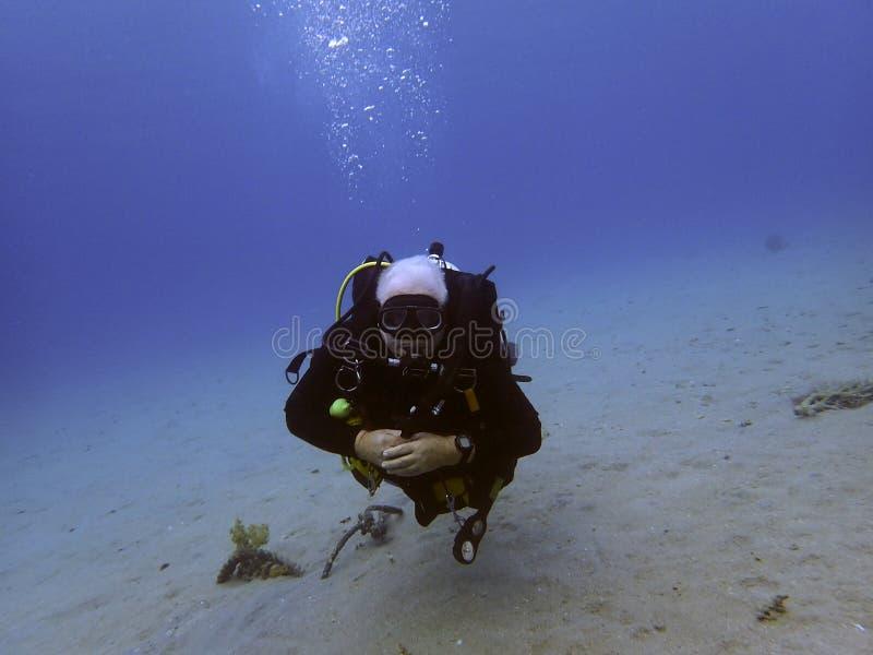 潜水者浸入新的站点喀斯特 免版税图库摄影