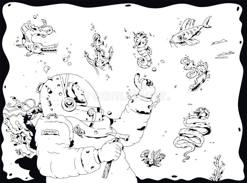 潜水者的例证,轻装潜水员 ?? 海洋居民围拢的海洋深度的探险家 概述动画片, 库存例证