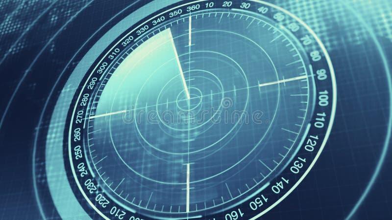 潜水艇和船的生波探侧器屏幕 有对象的雷达生波探侧器在地图 向量例证