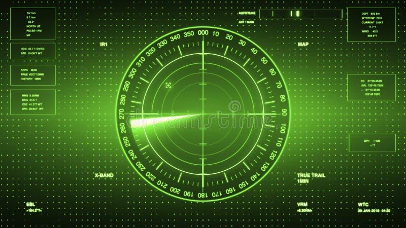 潜水艇和船的生波探侧器屏幕 有对象的雷达生波探侧器在地图 皇族释放例证