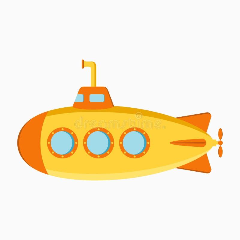 潜水艇 有潜望镜的水下的小船 向量 库存例证
