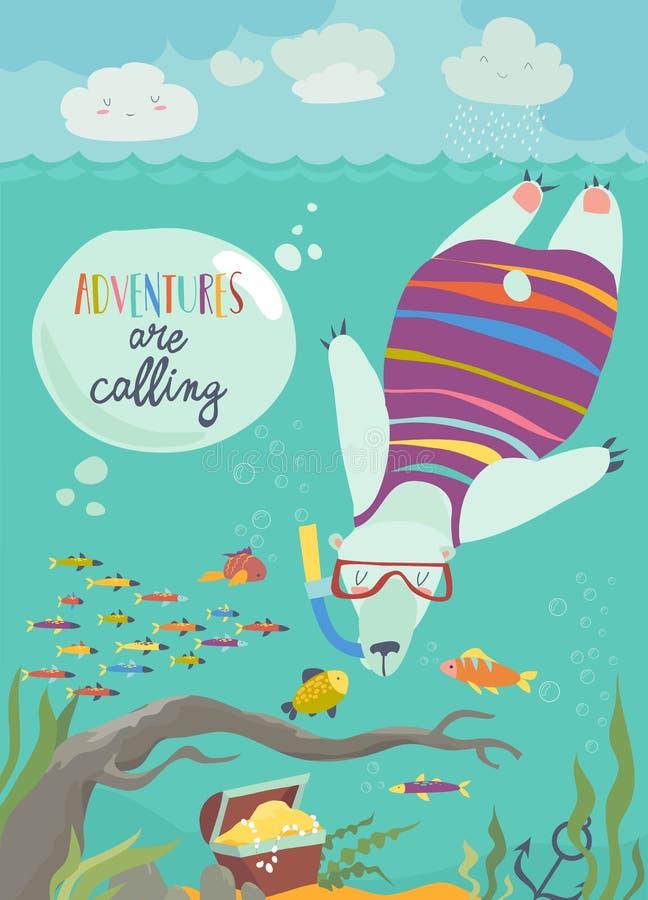 潜航和看鱼的逗人喜爱的北极熊 向量例证